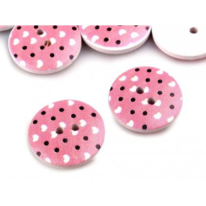 wooden button light pink with dots - 2.0 cm