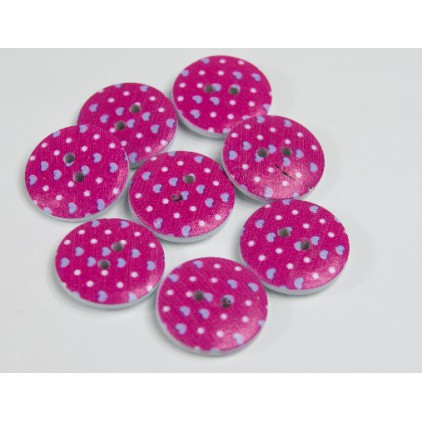 wooden button dark pink with dots - 2.0 cm
