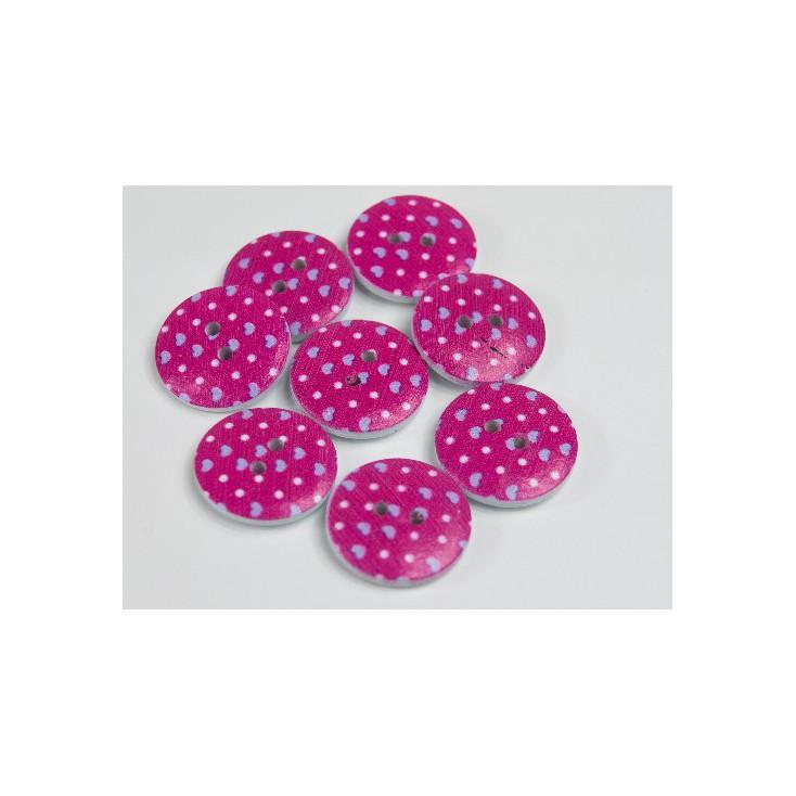 wooden button dark pink with dots - 2.0 cm