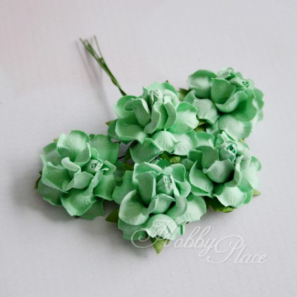 Scrapbooking flowers - light green mullberry paper roses - 5 pieces