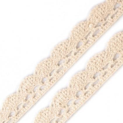Koronka bawełniana klockowa - beżowa - szerokość 1,5 cm - 1 metr