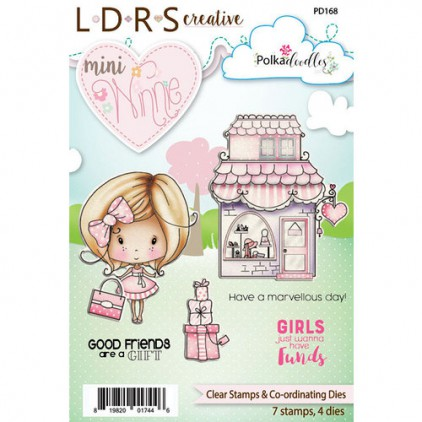 Scrapbooking zestaw stemple plus wykrojniki - Mini Winnie Boutique - Polka Doodles