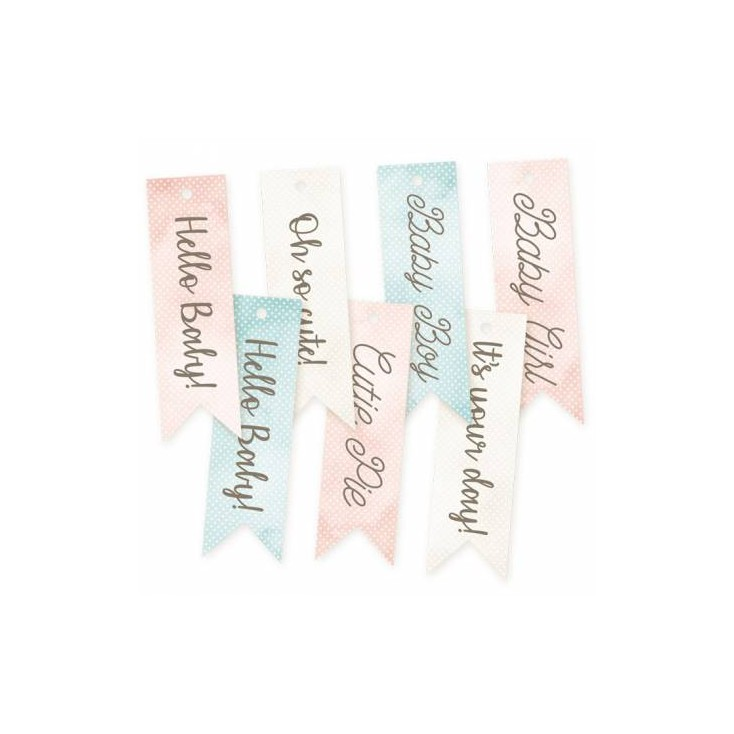 Scrapbooking accessories - paper cutouts - set of 7 tags - Cute & Co. 02 - P13