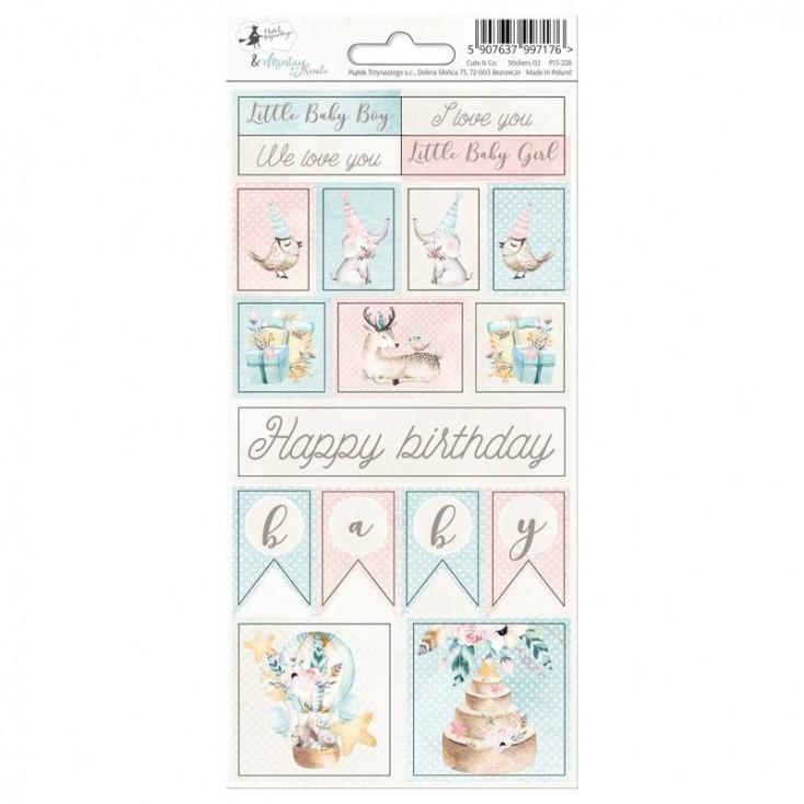 Scrapbooking sticker sheet - 10,5 x 23cm - Cute & Co. 02 - P13