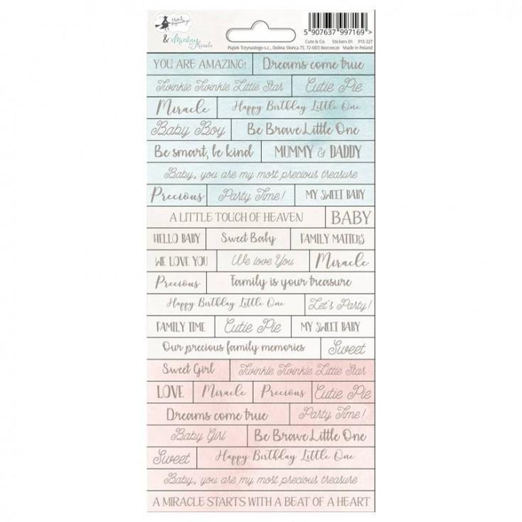 Scrapbooking sticker sheet - 10,5 x 23cm - Cute & Co. 01 - P13