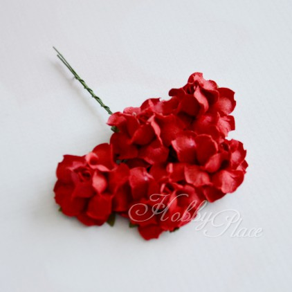 Scrapbooking flowers - red mullberry paper roses - 5 pieces