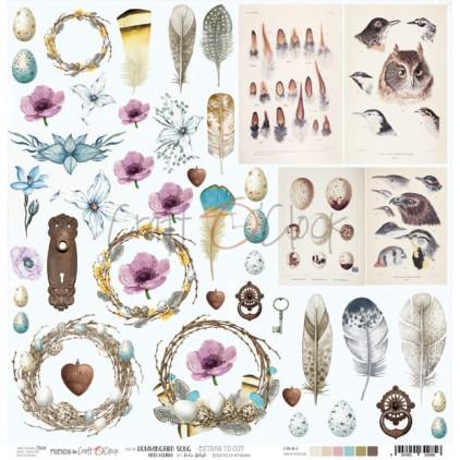 Scrapbooking papier 30x30cm - obrazki do wycinania - Hummingbird Song - Craft O Clock
