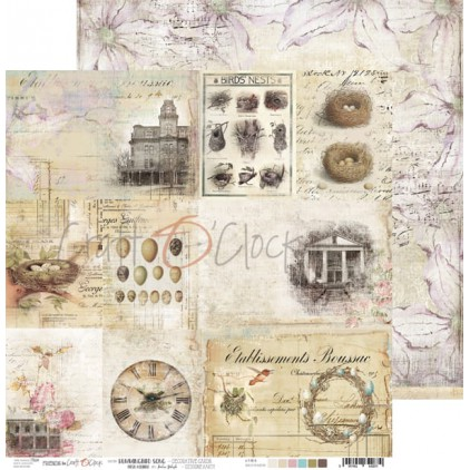 Scrapbooking paper 30x30 cm - Sheet with decorative cards - Hummingbird Song - Craft O Clock