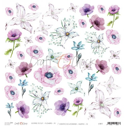 Scrapbooking paper 30x30 cm - Flowers to cut 9 - Craft O Clock