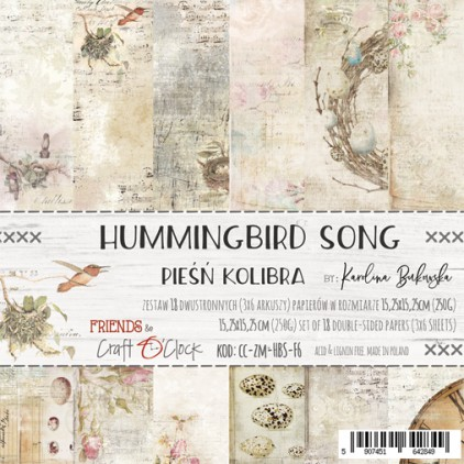 Scrapbooking papers -15x15 cm - Hummingbird Song - Craft O clock