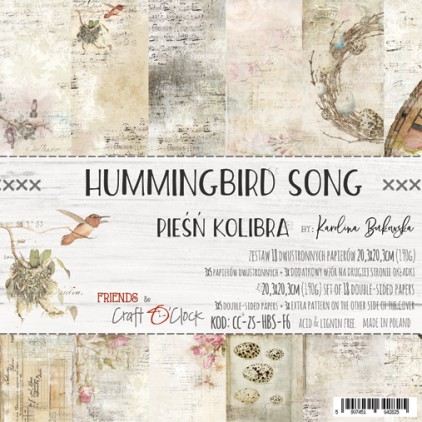 Scrapbooking papers -20 x 20 cm - Hummingbird Song - Craft O clock