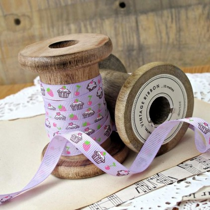 Grosgrain ribbon with cupcakes - lilac