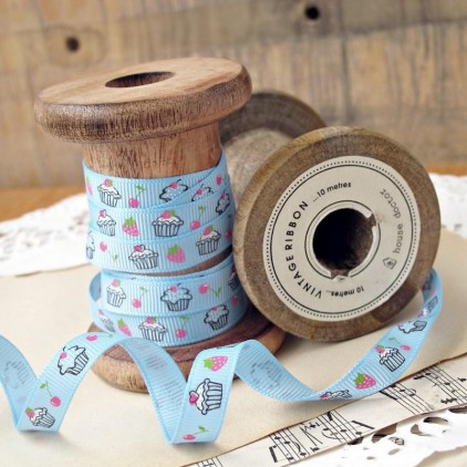 1 meter of grosgrain ribbon in a blue colour with the cupcakes