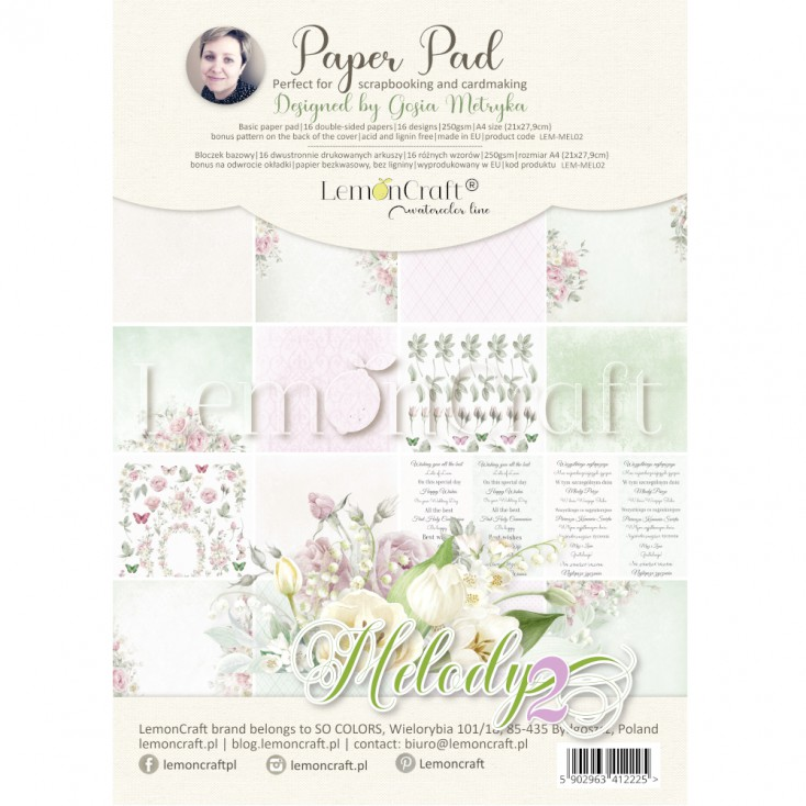 Melody 2 - Pad scrapbooking papers 21x29cm - Lemoncraft - Creative Block