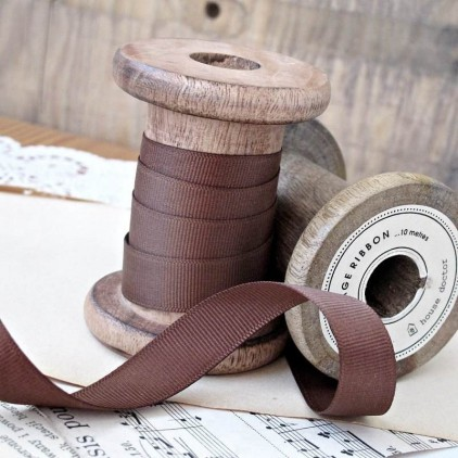 Grosgrain ribbon, 1 meter - milk chocolate