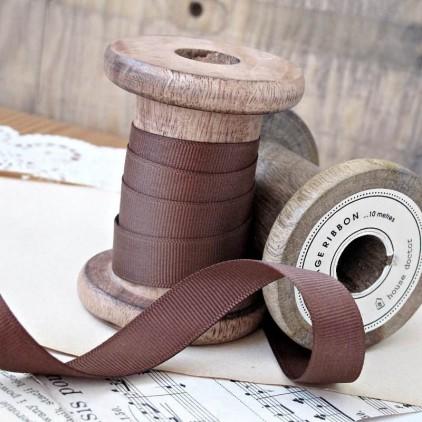 Grosgrain ribbon, 1 meter - milk chocolate