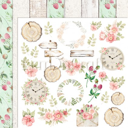 Raspberry Garden 03 - Double-sided scrapbooking paper - Lemoncraft - LEM-RASGA03