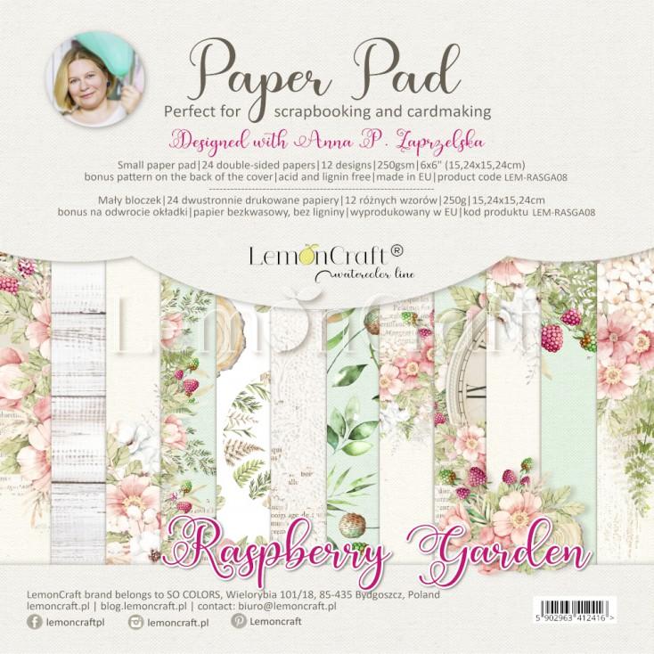 Raspberry Garden - Pad scrapbooking papers 15x15cm - Lemoncraft - LEM-RASGA09