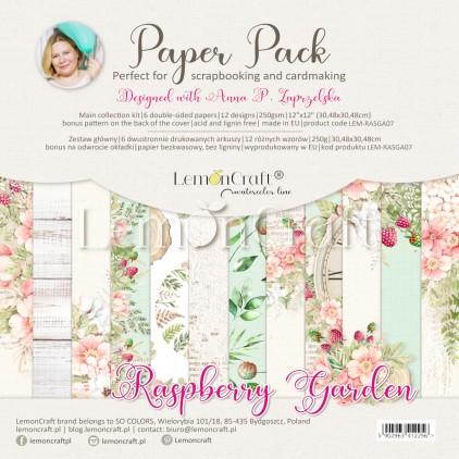 Raspberry Garden - Zestaw papierów do scrapbookingu 30x30cm - Lemoncraft - LEM- RASGA07