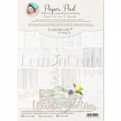 Wood Patterns 01 - Pad of scrapbooking papers 21x29cm - Lemoncraft - LEM-WOODPA01