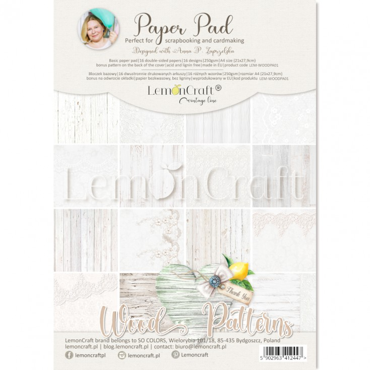 Wood Patterns 01 - Pad of scrapbooking papers 21x29cm - Lemoncraft - LEM-WOODPA01