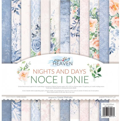 Set of 12 scrapbooking papers - Paper Heaven - Nights and days