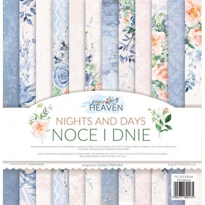 Zestaw 12 papierów do scrapbookingu 30x30cm - Paper Heaven - Noce i dnie