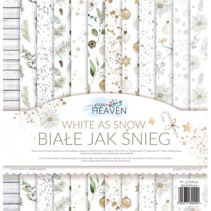 Zestaw 12 papierów do scrapbookingu 30x30cm - Paper Heaven - Białe jak Śnieg