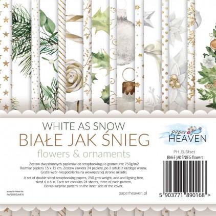 Mały bloczek - Paper Heaven - Białe jak Śnieg-Flower and Ornaments