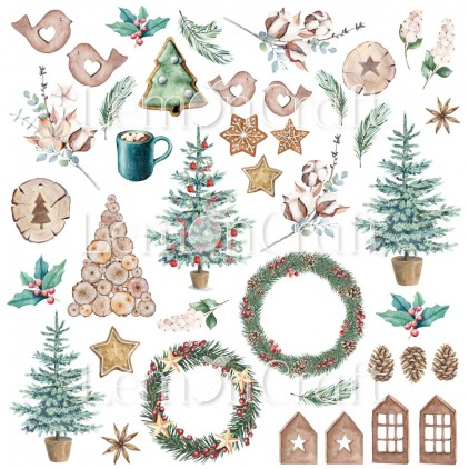 Paper with elements for cutting out - Lemoncraft - This Christmas 08 - LEM-TSCHR08