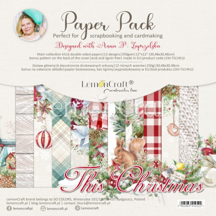Set of scrapbooking papers 30x30cm - This Christmas - Lemoncraft - LEM-TSCHR10