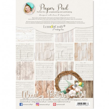 Wood Patterns 04 - Pad scrapbooking papers 21x29cm - Lemoncraft - LEM-WOODPA04