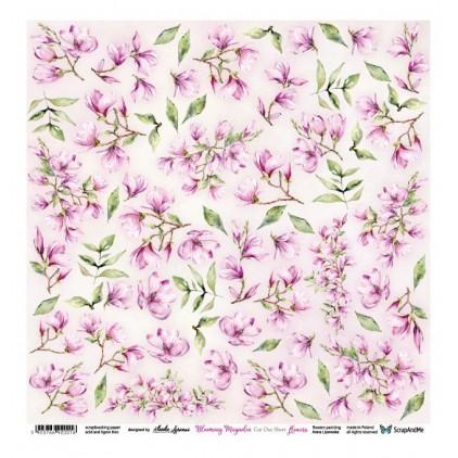 Scrapbooking paper 30 x 30 cm - Blooming Magnolia Flowers - ScrapAndMe