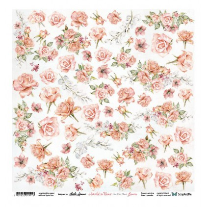 Scrapbooking paper 30 x 30 cm - Amidst the Roses Flowers - ScrapAndMe