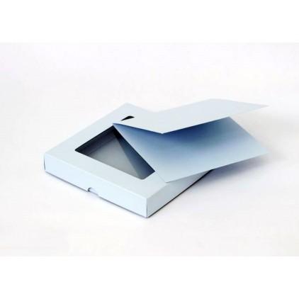 Błękitne pudełko na kartkę z okienkiem - niskie kwadratowe - plus baza kartki - Rzeczy z Papieru