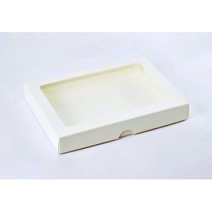 Cream box with a window - for a card - low C6 - Rzeczy z Papieru