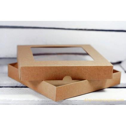 Pudełko craft na kartkę z okienkiem - niskie, kwadratowe - Rzeczy z Papieru