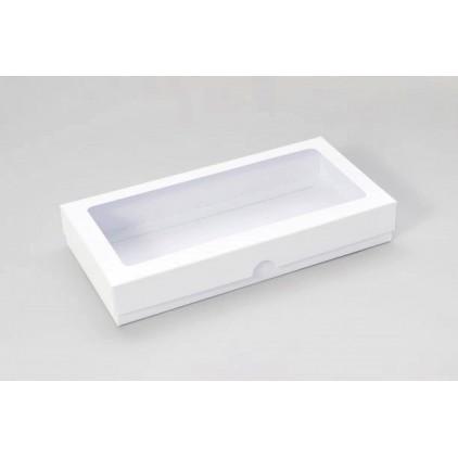 Białe pudełko z okienkiem - na kartkę DL - niskie - Rzeczy z Papieru