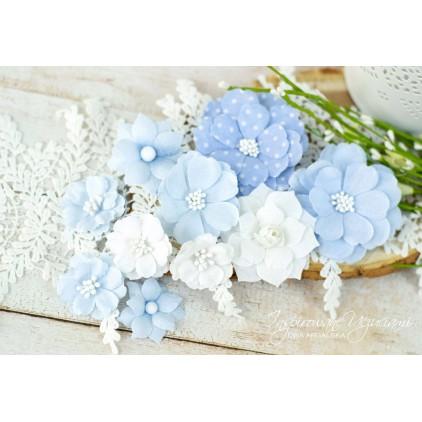 Scrapbooking kwiaty by Ewa Argalska - zestaw błękitny - 10 sztuk
