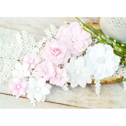 Scrapbooking flowers by Ewa Argalska - pink set - 10 pieces
