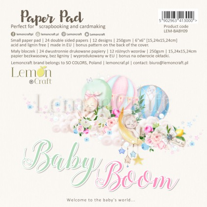 Bloczek papierów do scrapbookingu 15x15cm - Baby Boom - Lemoncraft