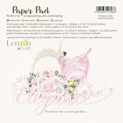 Pad scrapbooking papers 15x15cm - Elegance - Lemoncraft