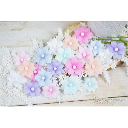 Scrapbooking flowers by Ewa Argalska - mix of colors 3 - 21 pieces