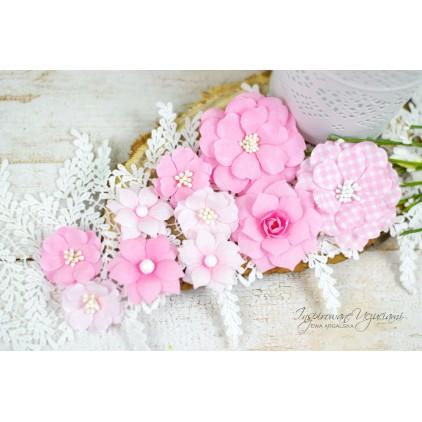 Scrapbooking flowers by Ewa Argalska - Sweet Pink set - 10 pieces