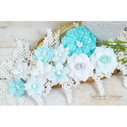 Scrapbooking kwiaty by Ewa Argalska - zestaw Cool Mint - 10 sztuk