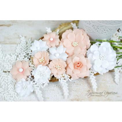 Scrapbooking kwiaty by Ewa Argalska - zestaw Sweet Mango - 11 sztuk