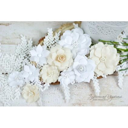 Scrapbooking flowers by Ewa Argalska - Light Beige set - 10 pieces