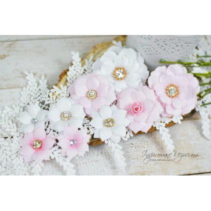 Scrapbooking flowers by Ewa Argalska - dark pink set - 10 pieces
