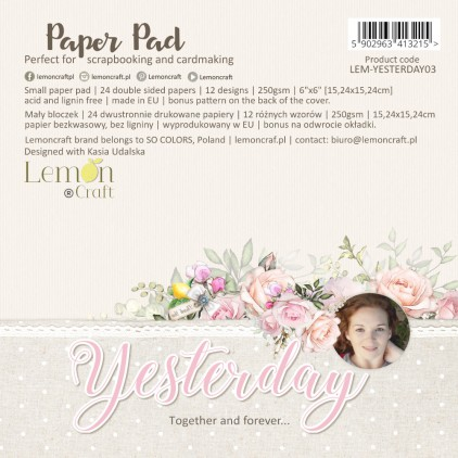 Pad scrapbooking papers 15x15cm - Yesterday - Lemoncraft