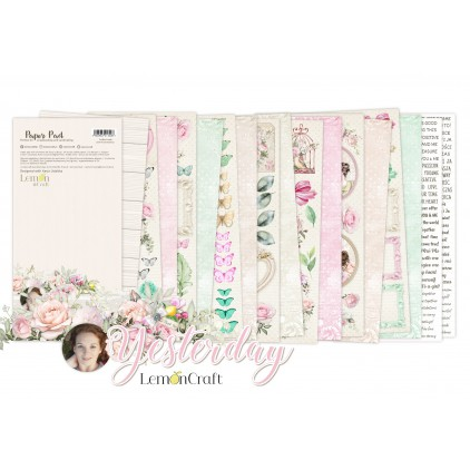 Pad scrapbooking papers 15x30.5cm - Yesterday Elements for fussy cutting - Lemoncraft